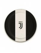 Juventus™-Pappteller klein Tischdeko 8 Stück schwarz-weiss 18cm