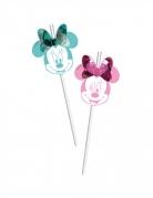 Minnie Maus™-Strohhalme Partydeko 6 Stück grün-rosa