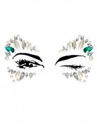 Schmucksteine für die Augen selbstklebend Make-up türkis-weiss