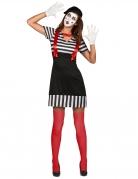 Pantomime-Kostüm für Damen Karnevalskostüm schwarz-weiss-rot
