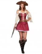Sexy Piraten-Damenkostüm Faschingskostüm rot-braun-weiss