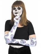 Día de los Muertos Handschuhe Halloween-Accessoire weiss-bunt