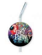 "Party-Strohhalme ""Crazy Party"" 6 Stück bunt 12x33cm"