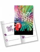 Einladungskarten Crazy Party mit Briefumschlag  10 Stück bunt 11x22cm