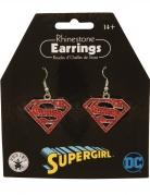 Supergirl™ Metallohrringe rot-silberfarben