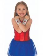 Wonder Woman™-Armbänder für Kinder Kostüm-Accessoire silber-rot