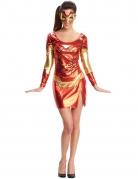Iron Girl™-Kostüm für Damen Marvel™-Lizenzkostüm rot-gold