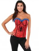 Spidergirl™-Korsett für Damen Faschingskostüm rot-schwarz-blau