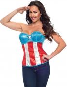 Captain America™-Korsage Marvel™-Lizenzkostüm blau-weiss-rot