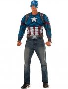 Captain America™-T-Shirt und Maske für Herren Faschingskostüm blau-weiss-rot