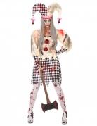 Blutiges Harlekin-Kostüm für Damen Halloween weiss-schwarz-rot