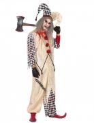 Blutiger Harlekin Herrenkostüm Halloween beige-rot-schwarz