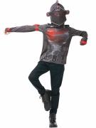 Fortnite™ Black Knight-Kostüm für Jugendliche Faschingskostüm grau-rot