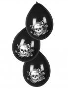 Skelett-Lutfballons mit Blumen Halloween-Deko 6 Stück schwarz-weiss