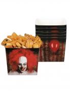 Horrorclown-Behälter Tischdekoration Halloween 6 Stück rot-weiss-schwarz 400ml