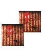 Gruselclown-Servietten mit Luftballon 12 Stück Halloween-Dekoration rot-schwarz 33x33cm