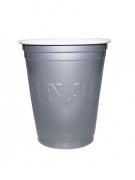 Amerikanische Becher Original Cup Partydeko 20 Stück silber 530ml