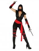 Sexy Ninja-Damenkostüm Faschingskostüm schwarz-rot