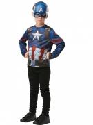 Capatain America™-Oberteil und Maske für Kinder blau-weiss-rot