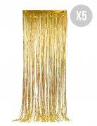 Vorhang-Set glitzernd Silvester-Deko 5 Stück gold 90x244cm