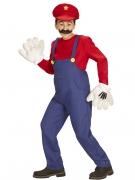Klempner Kinderkostüm für Jungen Videospiel-Retro-Verkleidung blau-rot-gelb