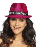 Pailletten-Hut Happy Birthday pink