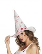 Blutiger Hexenhut für Damen Halloween-Accessoire weiss-rot