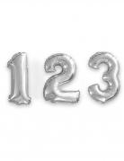 Zahlen-Luftballon Ziffern-Ballon für Geburtstage silber 35 cm