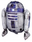 R2 D2™-Aluminiumballon weiss-blau-schwarz 86x96cm