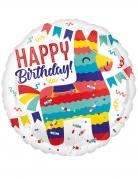 Runder Folienballon Happy Birthday Lama bunt 43 cm