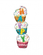 Aluminium-Ballon Cupcakes Happy Birthday bunt 33x104cm