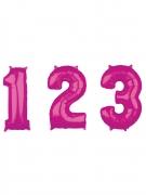 Aluminium-Luftballon Zahlen-Ballon 0-9 pink 43x66cm