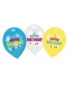 Geburtstag-Luftballons Happy Birthday blau-weiss-gelb 6 Stück bunt 27,5 cm