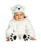 Flauschiges Eisbär-Babykostüm weiss-schwarz