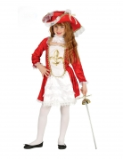 Musketier-Kostüm für Mädchen Faschingskostüm weiss-rot-gold