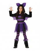 Fledermaus-Kostüm für Mädchen mit Tutu Halloween-Kostüm schwarz-violett