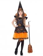 Kürbis-Hexe Kostüm für Mädchen Halloweenkostüm schwarz-orange