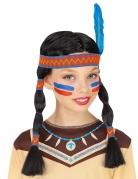 Indianer-Zopf-Perücke mit Feder für Kinder Faschingsaccessoire bunt