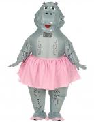 Aufblasbares Hippo-Kostüm Nilpferd-Ballerina für Erwachsene grau-rosa