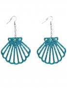 Muschel-Ohrringe Meerjungfrau-Accessoires blau-glitzer