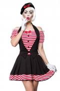 Sexy Pantomimin-Kostüm für Damen Faschingskostüm schwarz-rot-weiss