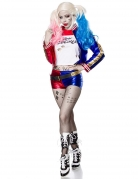 Verrücktes Harlekin-Kostüm für Damen Faschingskostüm blau-rot-weiss