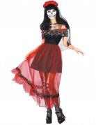 Tag der Toten Kleid Halloween-Kostüm für Damen rot-schwarz