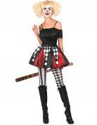 Clownsrock für Damen schwarz-weiss-rot