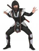 Hochwertiges Ninja-Kostüm für Kinder schwarz-silber-braun