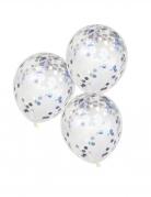 Konfetti-Luftballons schimmernd Deko 5 Stück silber 30 cm