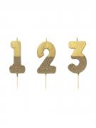 Zahlen-Kerze Kuchendekoration gold 13,8cm