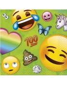 Kindgerechte Emoji™-Servietten 16 Stück grün-bunt 25x25 cm