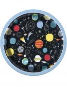 Weltraum-Teller in Comic-Optik 8 Stück bunt 18 cm