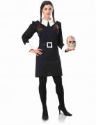 Wednesday™-Kostüm für Damen Addams Family™ schwarz-weiss